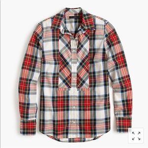 J.Crew Festive Plaid Button Up Shirt Size 8